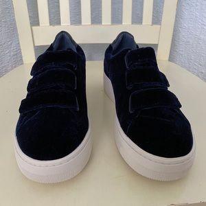 Sandro Paris Blue Velvet Platform Sneakers Trainer